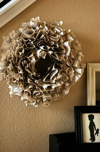 wreath made from book pages