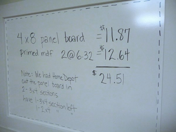 Diy Dry Erase Board Save A Bunch And Use Panel Board From Home Depot
