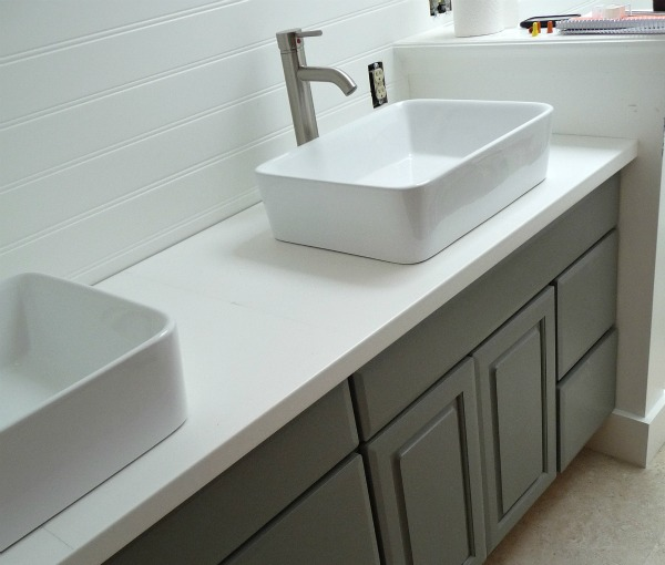 Ikea white counter in bathroom redo