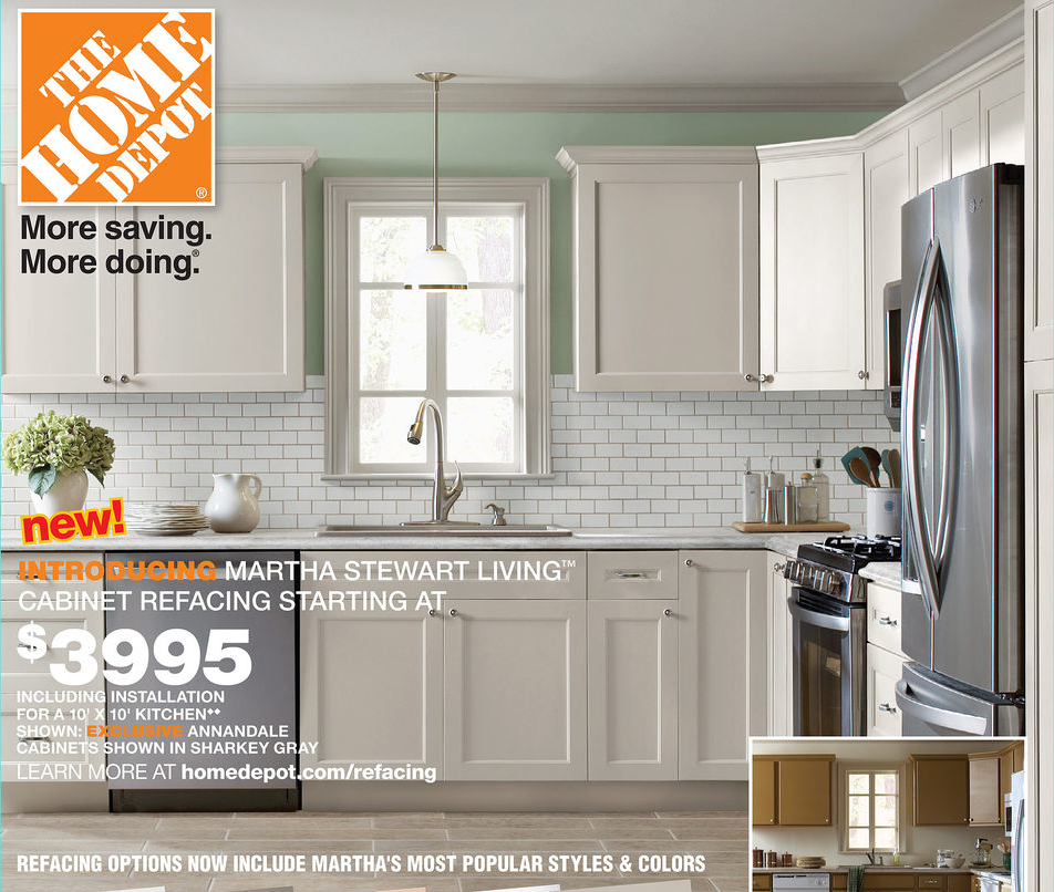 Martha stewart cabinet refacing for Average cost of kitchen cabinets at home depot