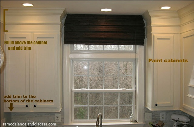 How to add character to plain cabinets for Adding crown molding to kitchen cabinets before after