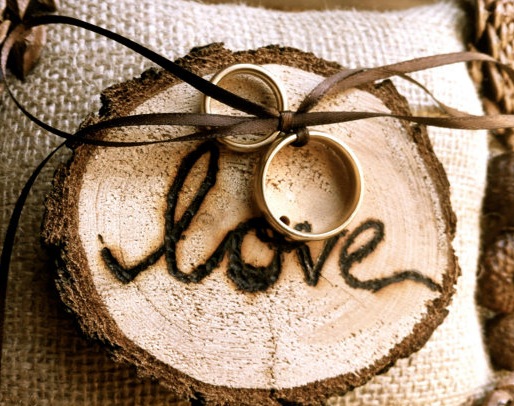 Rustic ring bearer pillow made from wood