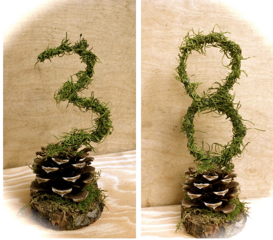Rustic moss table number for a wedding