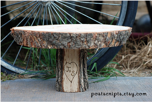 wooden cake stand engraved