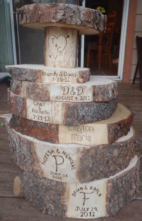woodburning engraved tree slice cake stands