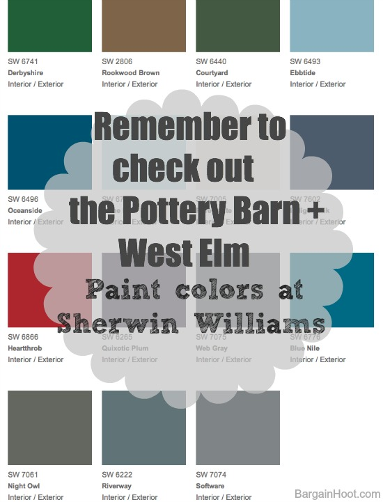 pottery barn and sherwin williams paint team together. Black Bedroom Furniture Sets. Home Design Ideas