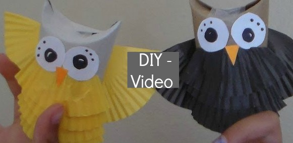 DIY owl craft from toilet paper roll
