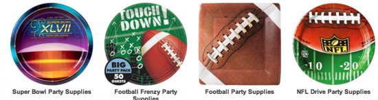 Football themed plates and party favors: Party City