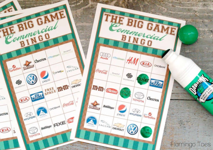Football bingo party game from Flamingo Toes