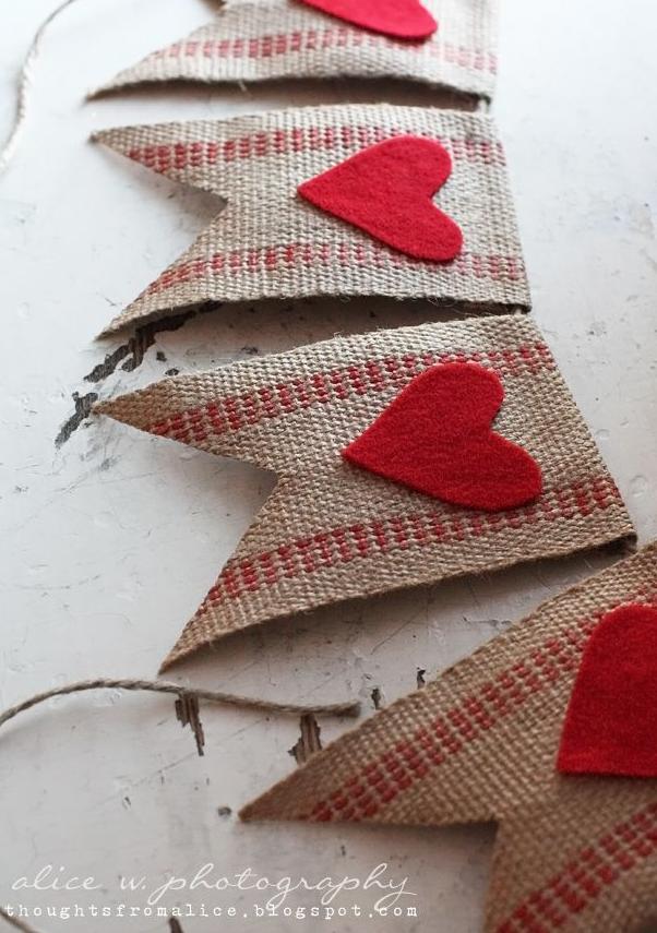 valentine's Day diy burlap ribbon Garland